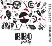 hand drawn grill and barbecue... | Shutterstock .eps vector #1296574588