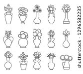 vases with flowers icons.... | Shutterstock .eps vector #1296582235