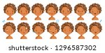 Stock vector curly hair face dark skin girl facial emotions set child face with different expressions variety 1296587302