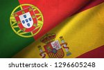 portugal and spain two flags... | Shutterstock . vector #1296605248