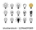 lightbulb icon set. light bulb  ... | Shutterstock .eps vector #1296609385
