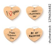 cardboard hearts collection... | Shutterstock .eps vector #1296636682