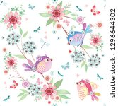 cute seamless pattern with... | Shutterstock .eps vector #1296644302