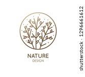 flower plant logo. vector... | Shutterstock .eps vector #1296661612