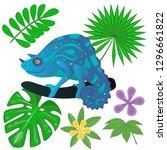 Iguana On The Tree And Jungle...