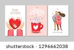 set of greeting cards for... | Shutterstock .eps vector #1296662038
