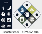 ripe icon set. 13 filled ripe... | Shutterstock .eps vector #1296664408