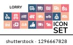 lorry icon set. 19 filled...   Shutterstock .eps vector #1296667828