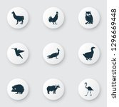 fauna icons set with ox  owl ... | Shutterstock . vector #1296669448