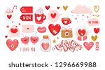 set of valentines day elements. ... | Shutterstock .eps vector #1296669988