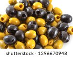 black and green olives mix... | Shutterstock . vector #1296670948