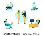 illustration call center... | Shutterstock .eps vector #1296676912