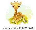 cute baby giraffe cartoon... | Shutterstock .eps vector #1296702442