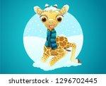 cute baby giraffe character...   Shutterstock .eps vector #1296702445