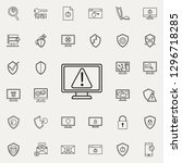 warning sign in monitor icon.... | Shutterstock .eps vector #1296718285