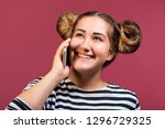 pretty young hipster girl with... | Shutterstock . vector #1296729325
