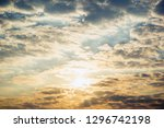 beautiful blue sky and sun... | Shutterstock . vector #1296742198
