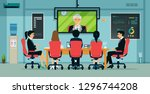businessmen and employees have... | Shutterstock .eps vector #1296744208