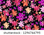 colourful flowers seamless... | Shutterstock .eps vector #1296766795