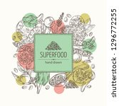 background with super food ... | Shutterstock .eps vector #1296772255