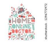 home online doctor. lettering... | Shutterstock .eps vector #1296772972