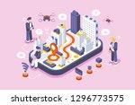 smart city on digital touch... | Shutterstock .eps vector #1296773575