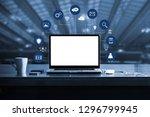 digital marketing. laptop... | Shutterstock . vector #1296799945