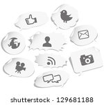 social network sign and icons... | Shutterstock .eps vector #129681188