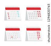 desks calendars set. flat style.... | Shutterstock .eps vector #1296820765