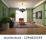 interior of the living room. 3d ...   Shutterstock . vector #1296823195