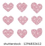 set of polygonal heart symbols. ... | Shutterstock .eps vector #1296832612