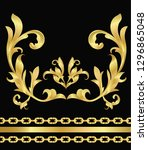 baroque ornaments vector and... | Shutterstock .eps vector #1296865048