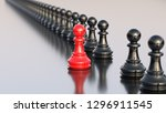 leadership concept  red pawn of ... | Shutterstock . vector #1296911545