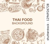 thai food flyer design. linear... | Shutterstock .eps vector #1296926728