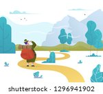 man with a backpack looks at... | Shutterstock .eps vector #1296941902