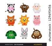 set of animals. cartoon and... | Shutterstock .eps vector #129695456