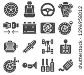 car parts icons set on white... | Shutterstock .eps vector #1296958012