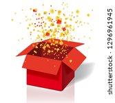 box exploision  blast. open red ...   Shutterstock .eps vector #1296961945