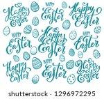 happy easter eggs | Shutterstock . vector #1296972295