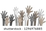 multiethnic hands raised up... | Shutterstock . vector #1296976885