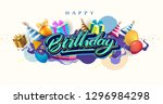 happy birthday celebration... | Shutterstock .eps vector #1296984298