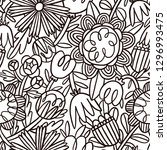 hand drawn doodle floral... | Shutterstock . vector #1296993475
