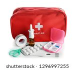 first aid kit on white... | Shutterstock . vector #1296997255