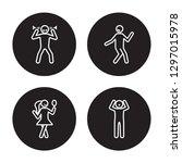 4 linear vector icon set  ... | Shutterstock .eps vector #1297015978