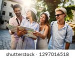 group of happy friends enjoying ... | Shutterstock . vector #1297016518