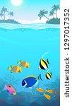 beautiful underwater world ... | Shutterstock .eps vector #1297017352