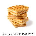 traditional belgian wafers are...   Shutterstock . vector #1297029025