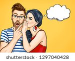 Gossip Couple. Amazed Man And...
