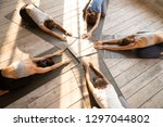 fit female yogi stretch on... | Shutterstock . vector #1297044802