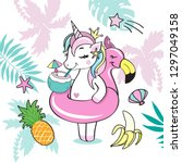 a beautiful unicorn with a... | Shutterstock .eps vector #1297049158